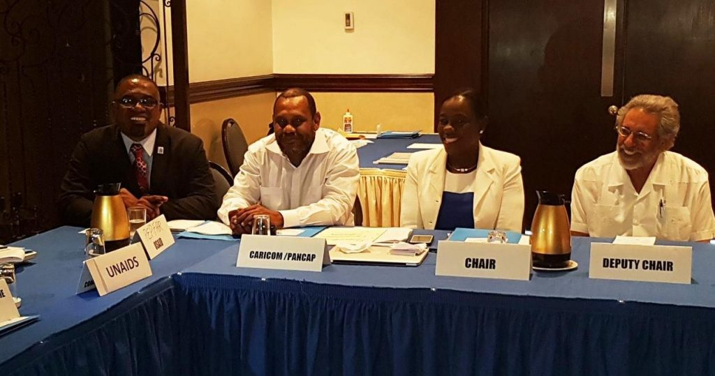 From L - R Director of the PANCAP Coordinating Unit, Mr. Dereck Springer, Prof. Donald Simeon, new Chair Hon. Nicolette Henry and new Vice Chair Prof J. Peter Figueroa during the PANCAP RCM